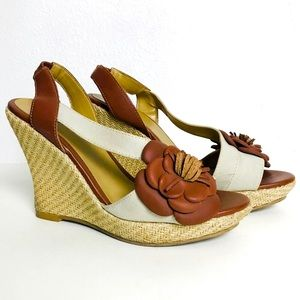 Andrea wedges sling back cavas and leather sz 8 I